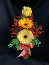 Gerbera and Rose Bud Vase