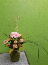 Gerbera and Roses Vase Arrangement