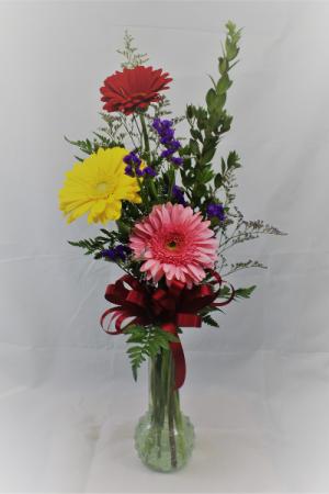 Gerbera Budvase 3 Assorted Vase In Clinton Il Grimsleys Flower