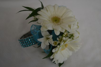 gerbera daisy and blue wrist corsage