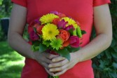 gerbera daisy bridesmaid bouquet wedding