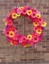 Gerbera Daisy Wreath - AWF10B Sympathy Arrangement