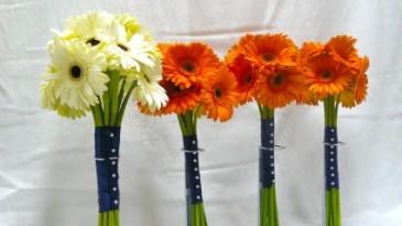 Gerbera Wedding Bouquets Orange And Navy Blue