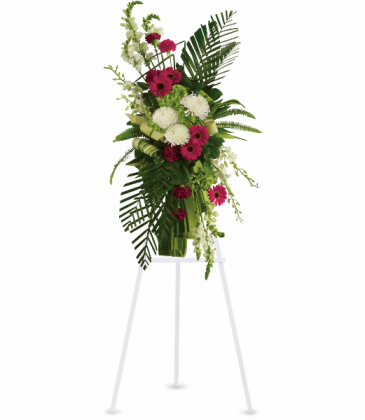 Gerberas and Palms Spray Standing Easel