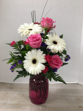 Gerbs and Roses Arrangement