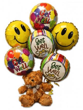 Get Well Balloon & Bear Arrangement