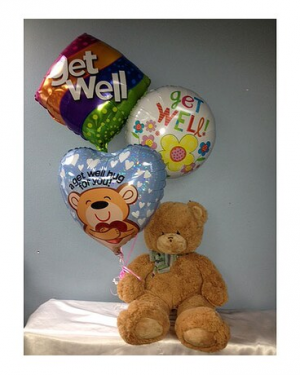 GET WELL BALLOON & BEAR ARRANGEMENT  in Longwood, FL | Novelties By Nadia Flowers & More