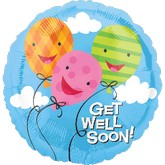 Get Well Balloon Bouquet 2 Mylar, 5 Latex Balloons