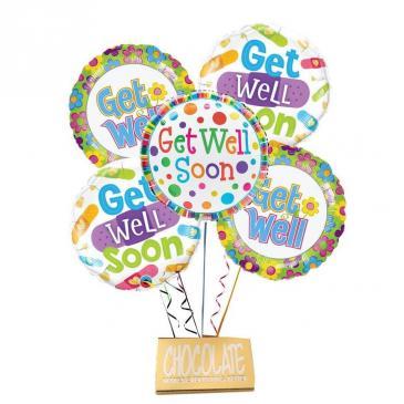 Get Well Balloon Bouquet-DeBrand Candy Bar