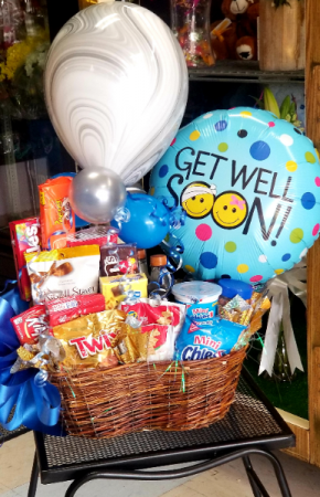 Get Well Basket of Goodies Basket of Goodies and Balloons