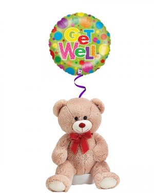 Get Well Bear with Mylar  in Coral Springs, FL | DARBY'S FLORIST