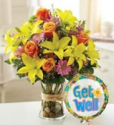 Get Well Flowers with Balloon