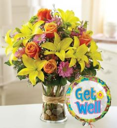 Get Well Flowers with Balloon  in Oakdale, NY | POSH FLORAL DESIGNS INC.
