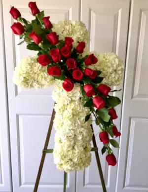 Prayer Standing Cross Shown in photo as Deluxe ($245) in Whittier, CA | Rosemantico Flowers