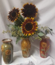 3 SUNFLOWERS IN A SUNFLOWER VASE!