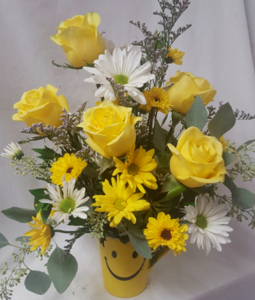 MAKE SOMEONE HAPPY BOUQUET!! Yellow roses, white and yellow daisies with baby's breath arranged in a cute happy face mug!