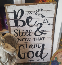 Wood wall hanging with Religious message