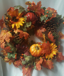 "FALL SILK WREATH...20"" diameter. Would be great to use for a door or on table with a candle in center for a centerpiece. Can be used year after year!"