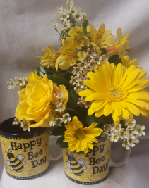 """HAPPY BEE DAY!"" CUTE MUG WITH SHADES OF BRIGHT YELLOW FLOWERS TO BRIGHTEN SOMEONE'S DAY!"