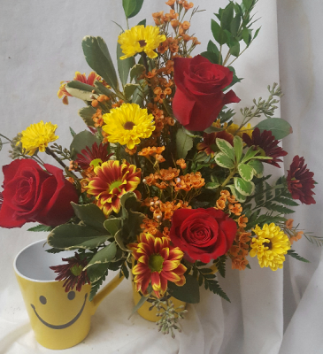 """Fall Happy Face"" Roses with fall daisies!"