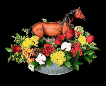 Giddy Up Fall Floral With Resin Horse Figurine