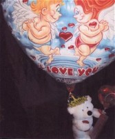 STANDING BEAR WITH AIR BALLOON & attached Gifts/Singing Balloon Balloon changes