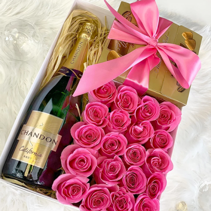 Gift Box with Flowers, chocolate and champagne