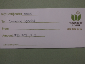 GIFT CERTIFICATE  in Springfield, VT | WOODBURY FLORIST