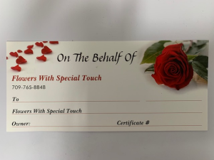 Gift Certificate Gift in Mount Pearl, NL | Flowers With Special Touch