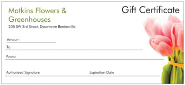 Gift Certificate Gift Card