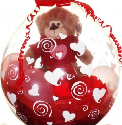 Gift In A Balloon! Stuffed Bear, Chocolate Candy and Balloon Fillers