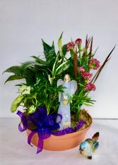 Gift Angel or Bird in Garden  Mixed Green Plants