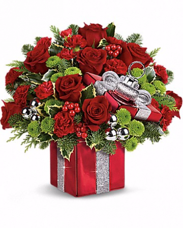 Gift Wrapped Bouquet Fresh Flowers in Ceramic Gift Box