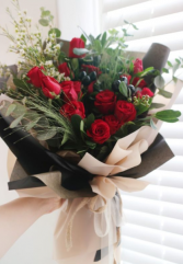 Gift Wrapped Red Rose  Aqua Packed For Delivery