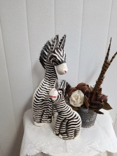 Gift-Zebra Mom and Baby art deco floral arrangement sold seperately