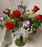 """PURPLE PASSION"" BOUQUET RED ROSES and white with PURPLE tip lisianthus arranged with baby's breath."