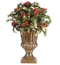 Gilded Holly Premade Silk Gold Pedestal