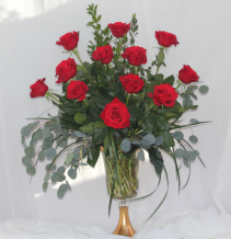 Gilded Red Dozen Fresh Floral Design