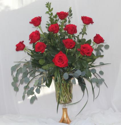 Gilded Red Dozen Fresh Floral Design