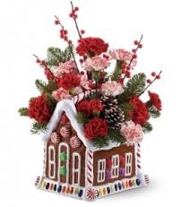 Ginger Bread House Floral Arrangement