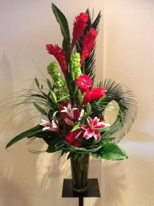 Red Ginger Stargazer Lilies Amp Tropical Foliage
