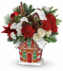 Gingerbread Cookie Jar Evergreen Bouquet