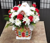 Gingerbread House Cookie Jar 1 Sided Bouquet