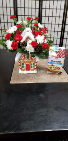 Gingerbread House Cookie Jar With Cookies 1 SIDED BOUQUET