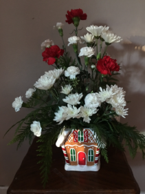 Gingerbread house Gingerbread house with holiday flowers