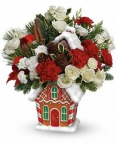 Gingerbread House Keepsake Arrangement Christmas Flowers