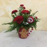 Gingerbread Man W/ Winter Arrangment
