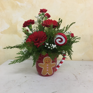 Gingerbread Man W/ Winter Arrangment  in Cushing, OK | BUSY BEE FLORAL