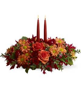 Giving Thanks 2 CANDLE DEEP BURGUNDY AND ORANGE CENTERPIECE in Colorado Springs, CO | ENCHANTED FLORIST II