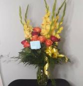 Gladiolus and Roses Sympathy